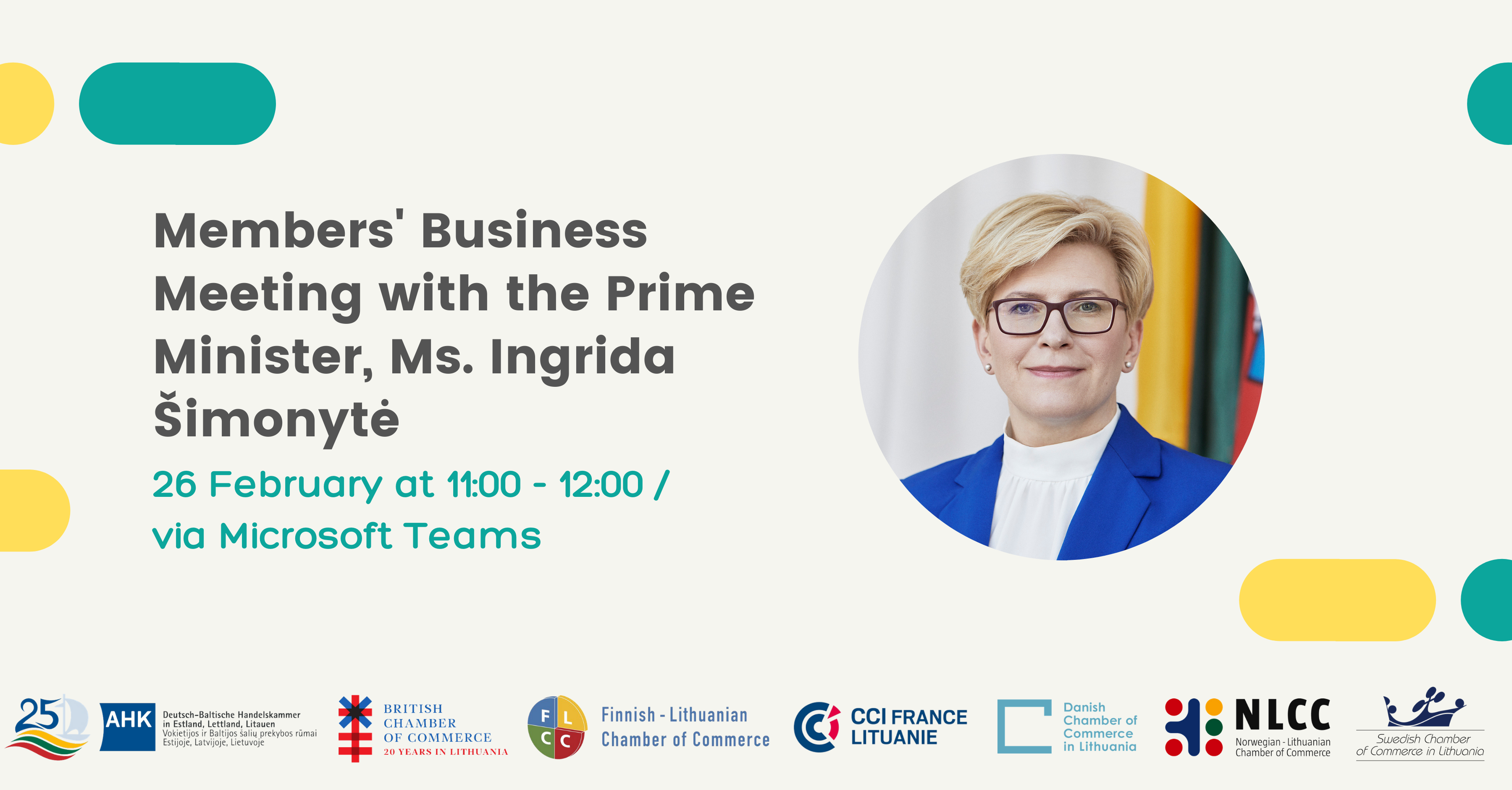 Members' Business Meeting With the Prime Minister Ms. Ingrida Šimonytė